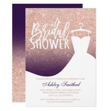 Rose gold glitter purple chic dress Bridal shower Invitations