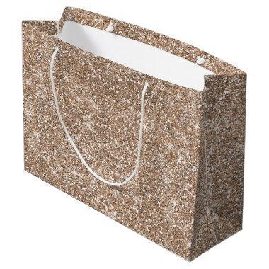 Rose Gold Glitter Stars Modern Large Gift Bag