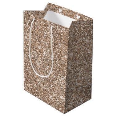 Rose Gold Glitter Stylish Medium Gift Bag