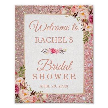 Rose Gold Glitters Floral Bridal Shower Sign