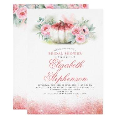 Rose Gold Glitters Pumpkin Fall Bridal Shower Invitations