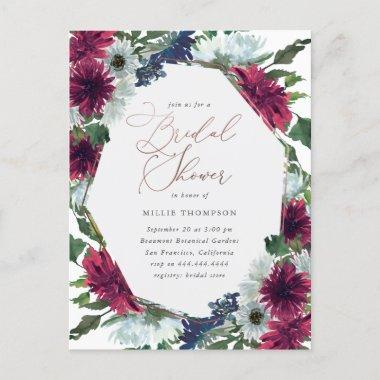Rose Gold, Marsala & Navy Floral Bridal Shower Invitation PostInvitations