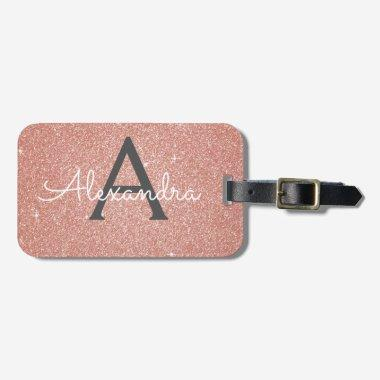 Rose Gold Pink Sparkle Glitter Monogram Name Luggage Tag