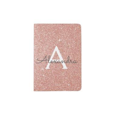 Rose Gold - Pink Sparkle Glitter Monogram Name Passport Holder