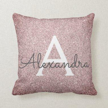Rose Gold - Pink Sparkle Glitter Monogram Name Throw Pillow