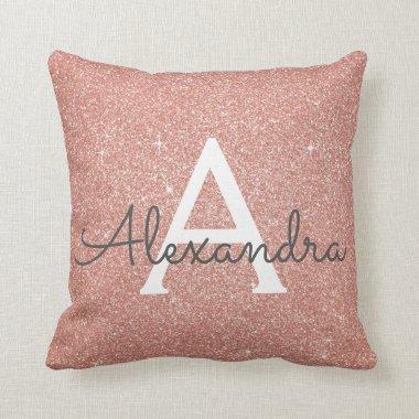 Rose Gold Sparkle Glitter Monogram Name & Initial Throw Pillow