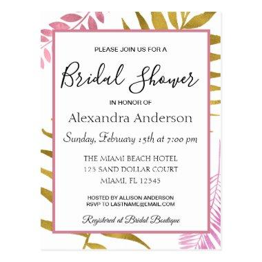 Rose Gold Tropical Floral  Invitation Post