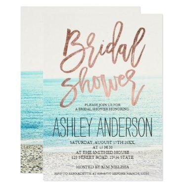 Rose gold typography beach photo bridal shower Invitations
