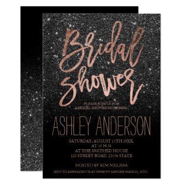Rose gold typography black glitter