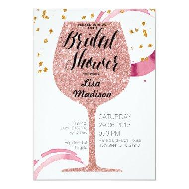 Rose Gold Wine Bridal Shower Invitation Invitations