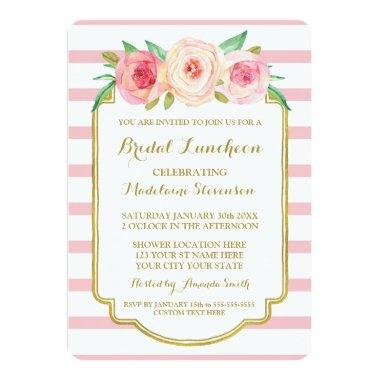 Rose Stripes Gold Pink Floral Bridal Lunch