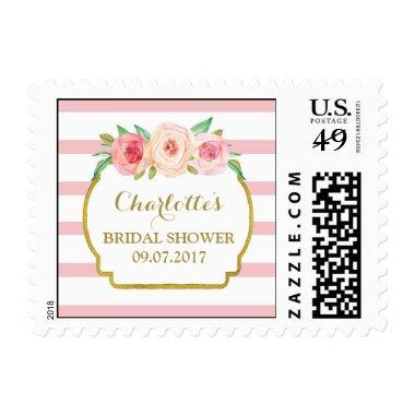 Rose Stripes Pink Floral  Stamps