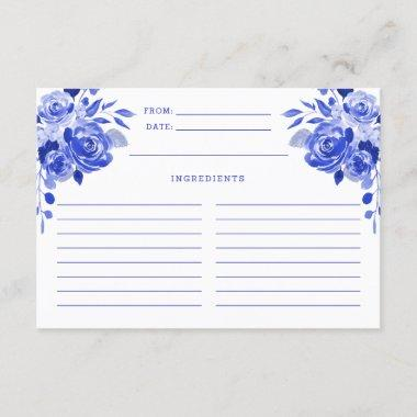 Royal Blue and White Watercolor Floral Recipe