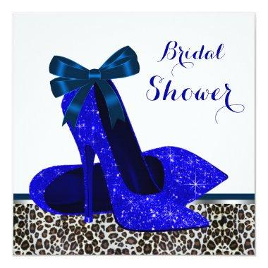Royal Blue High Heel Bridal Shower Invitations