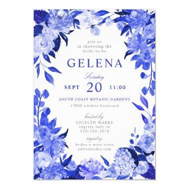 Royal Blue & White Watercolor Floral Bridal Shower Invitations