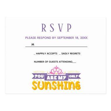 RSVP - Purple Wedding Party My Sunshine Love Quote Post