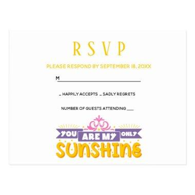 RSVP - Yellow Wedding Party My Sunshine Love Quote Post