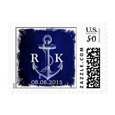 rustic anchor nautical wedding save the date postage
