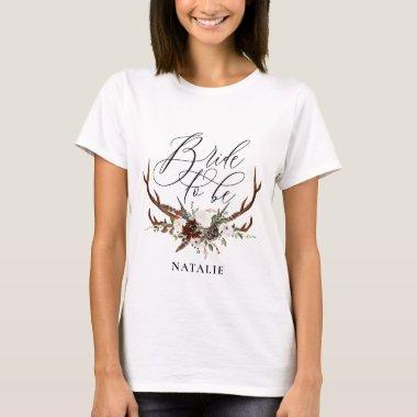 Rustic antlers + foliage bride to be T-Shirt