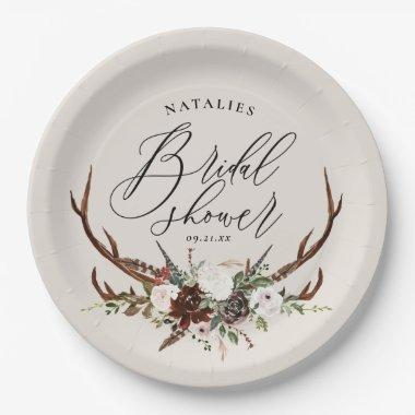 Rustic antlers watercolor floral bridal shower paper plate
