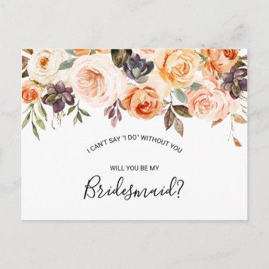 Rustic Autumn Elegant Floral Bridesmaid Invitation PostInvitations
