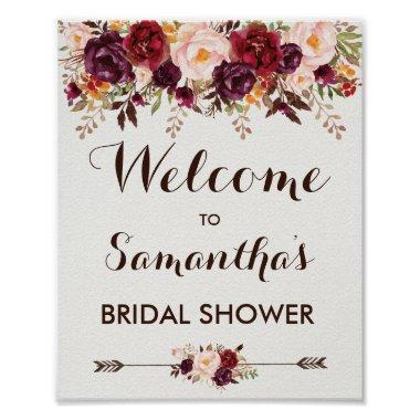 Rustic Autumn Floral Bridal Wedding Baby Shower Poster
