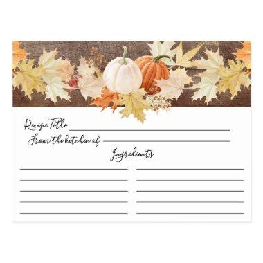 Rustic Autumn Leaves Pumpkins Floral Recipe Invitations