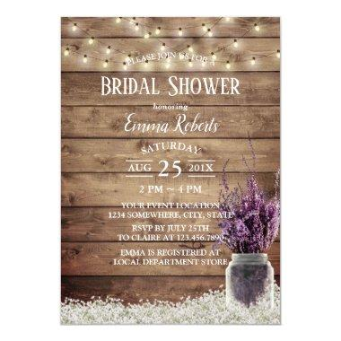 Rustic Baby's Breath Lavender Floral Bridal Shower Invitations