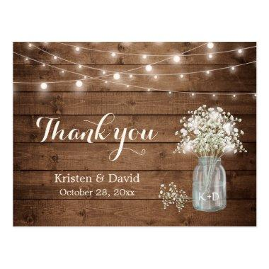 Rustic Baby's Breath Mason Jar Lights Thank You PostInvitations