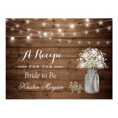 Rustic Baby's Breath String Lights Bridal Recipe PostInvitations