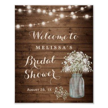 Rustic Baby's Breath String Lights Bridal Shower Poster