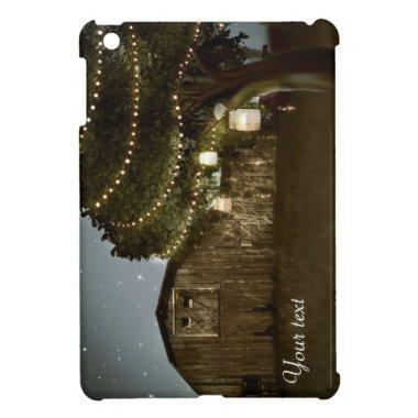 Rustic Barn & Tree String Lights ipad cover