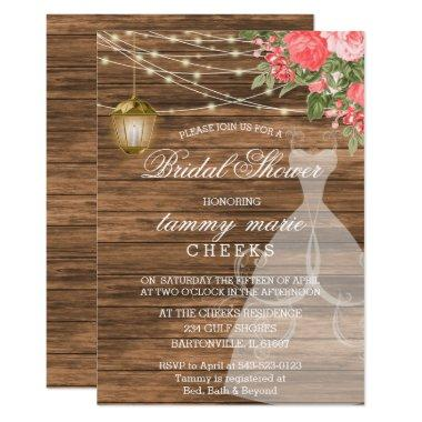 Rustic Barn Wood Bridal Shower - Coral Invitations