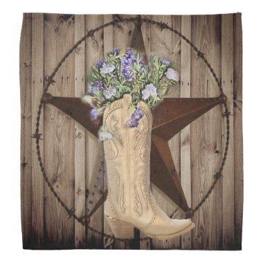 rustic barn wood wildflower cowboy western star bandana