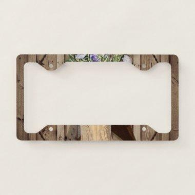 rustic barn wood wildflower western star cowgirl license plate frame