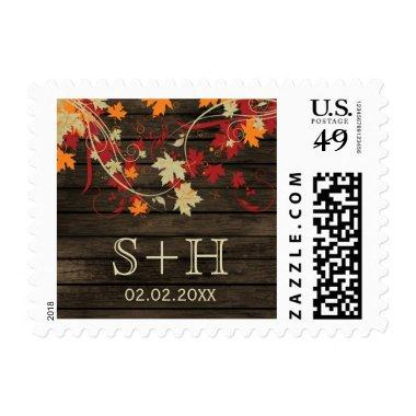 Rustic Barnwood fall leaves personalized stamps
