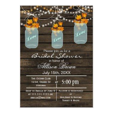 rustic barnwood maple mason jar fall bridal shower Invitations