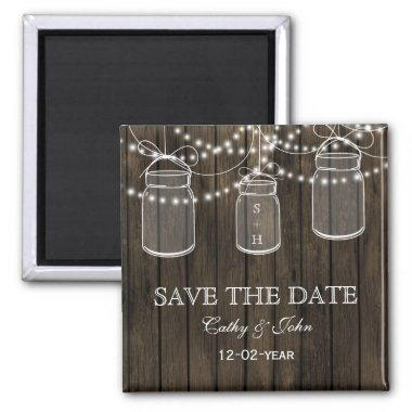 Rustic Barnwood mason jar save the Date Magnet