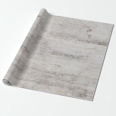 Rustic Birch Tree Aged Gray Wood Texture Wedding Wrapping Paper
