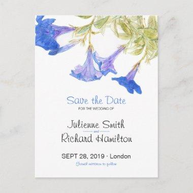 Rustic Blue Floral Wedding Save the Date PostInvitations