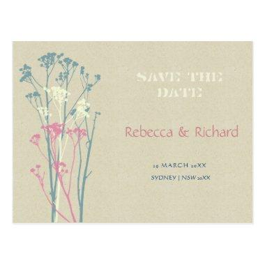 RUSTIC BLUE, WHITE, PINK COUNTRY Save the date PostInvitations