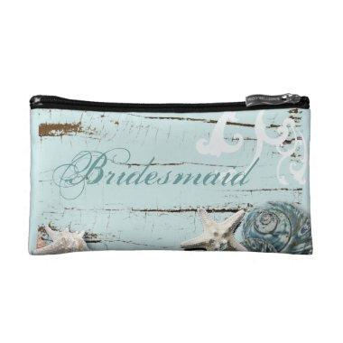 Rustic BLue wood Seashells Beach bridesmaid Makeup Bag