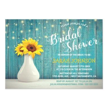Rustic Blue Wood | Sunflower Bridal Shower Invitations