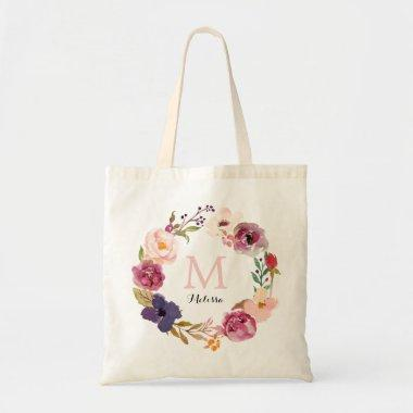 Rustic Boho Watercolor Floral Wreath Monogram Tote Bag
