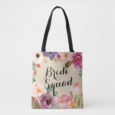 Rustic Boho Watercolor Flowers Bride Squad Tote Bag