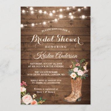 Rustic Boots Cowgirl Western Bridal Shower Invitations