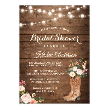 b85af3f9fe6 Rustic Boots Cowgirl Western Bridal Shower Invitations