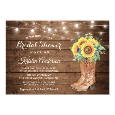 Rustic Boots String Lights Sunflower Bridal Shower Invitations