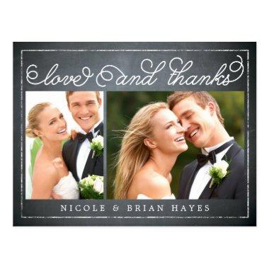 Rustic Border Wedding Thank You  - Chalkboard