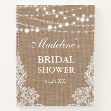 Rustic Bridal Shower Burlap Lace Lights Gift List Notebook